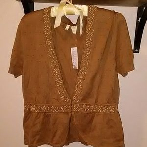 NWT Moth, beaded, L beige, short sleeve sweater